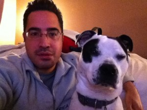 Macho and I during our happy days. Notice the distant look in his eyes.